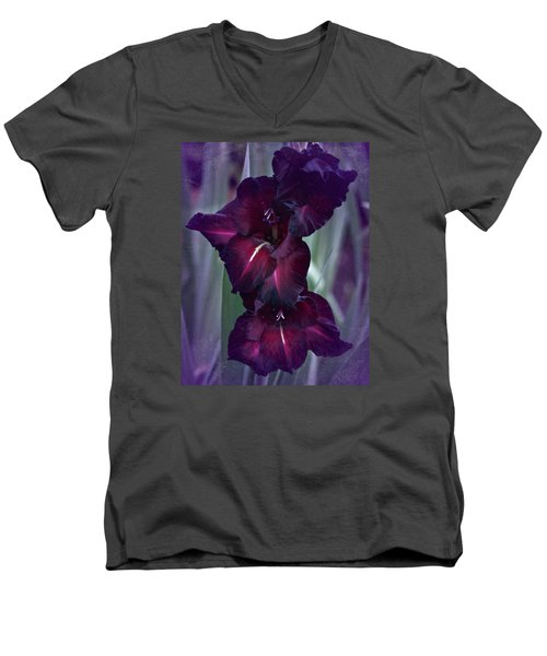 Black Crimson Gladiolus Men's V-Neck T-Shirt