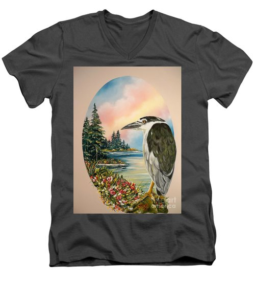 Men's V-Neck T-Shirt featuring the painting Black Crowned Heron by Sigrid Tune