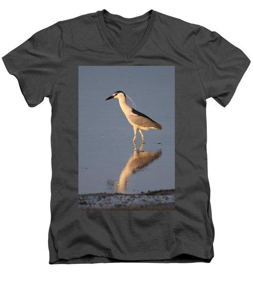 Black Crowned Night Heron Kings Park New York Men's V-Neck T-Shirt by Bob Savage