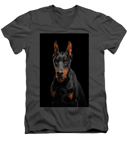 Men's V-Neck T-Shirt featuring the photograph Black Doberman by Sergey Taran