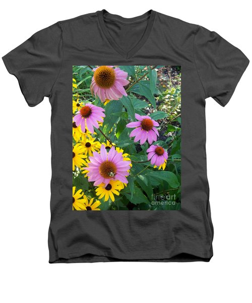 Black Eye Susans And Echinacea Men's V-Neck T-Shirt by Eric  Schiabor
