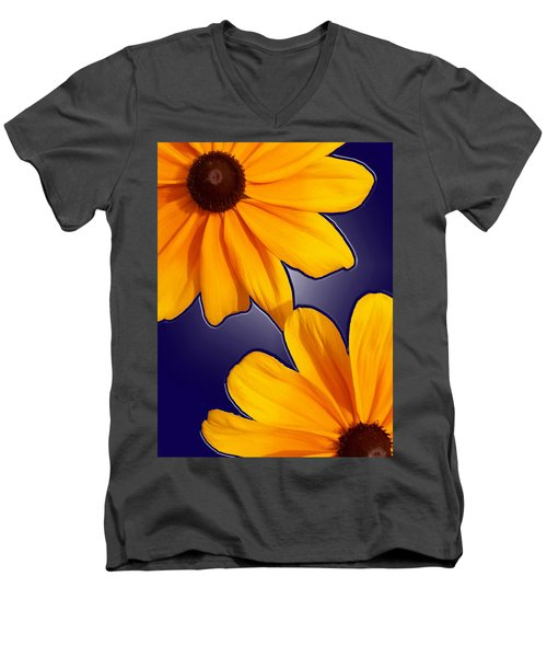 Black-eyed Susans On Blue Men's V-Neck T-Shirt
