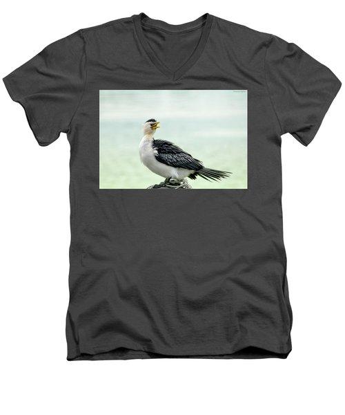 black faced Cormorant 02 Men's V-Neck T-Shirt by Kevin Chippindall