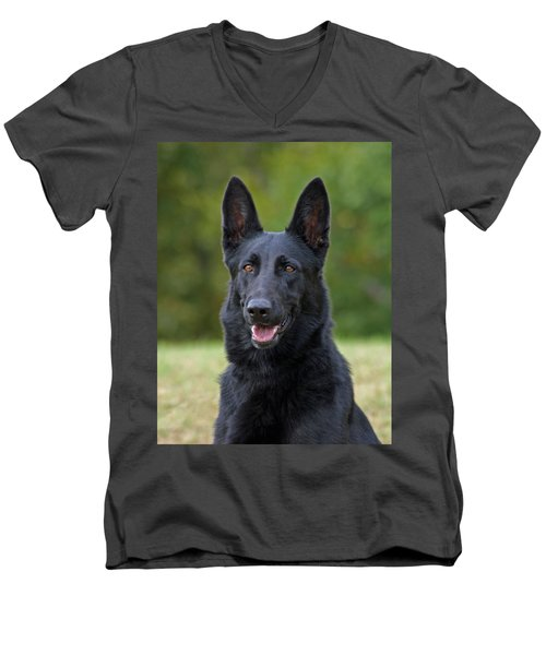 Black German Shepherd Dog Men's V-Neck T-Shirt by Sandy Keeton