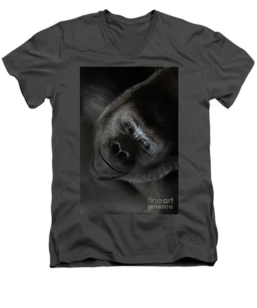 Black Gorilla Smile Men's V-Neck T-Shirt