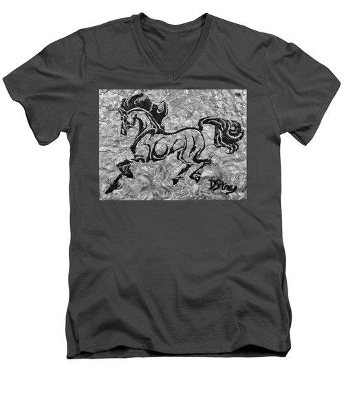 Black Jack Black And White Men's V-Neck T-Shirt