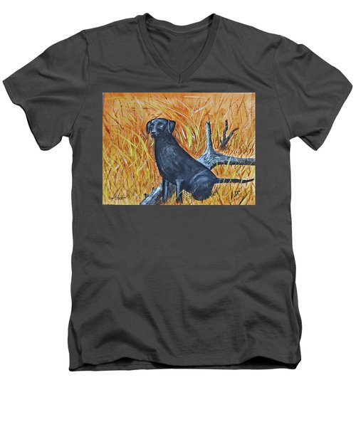Black Lab-2 Men's V-Neck T-Shirt
