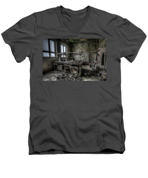 Men's V-Neck T-Shirt featuring the digital art Black Lab by Nathan Wright