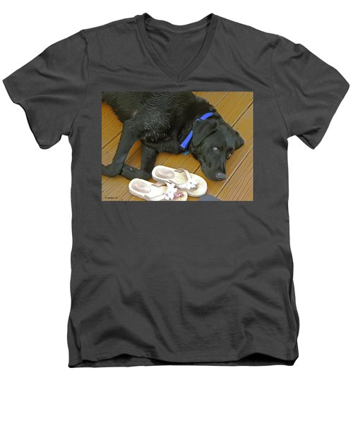 Black Lab Resting Men's V-Neck T-Shirt by Brian Wallace