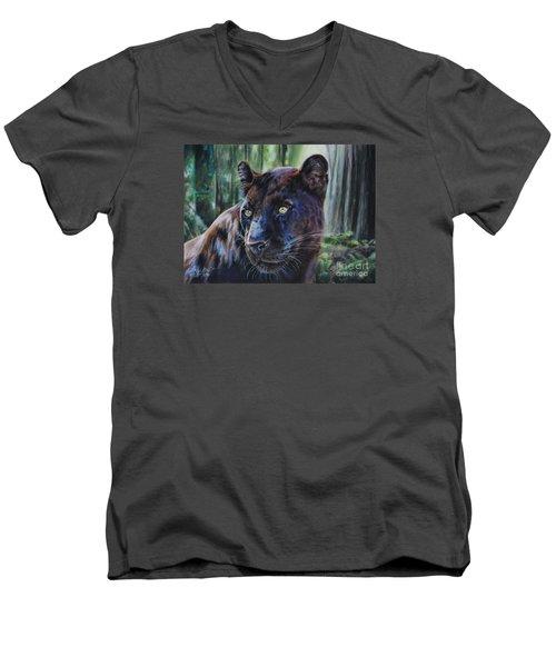 Black Leopard Men's V-Neck T-Shirt