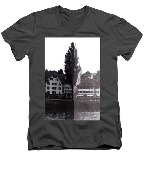 Black Lucerne Men's V-Neck T-Shirt by Christian Eberli