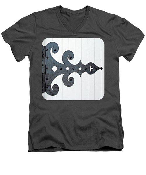 Black On White Men's V-Neck T-Shirt by Ethna Gillespie