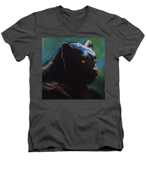 Black Panther Men's V-Neck T-Shirt by Maris Sherwood
