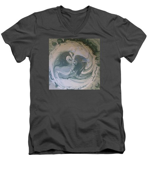 Black Panthers Kissing In Ice Cave Men's V-Neck T-Shirt by Gyula Julian Lovas