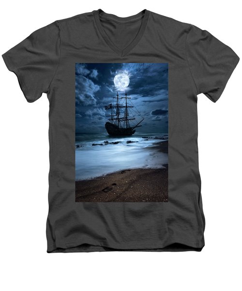 Black Pearl Pirate Ship Landing Under Full Moon Men's V-Neck T-Shirt
