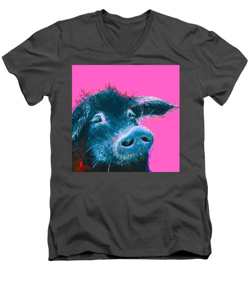 Black Pig Painting On Pink Background Men's V-Neck T-Shirt
