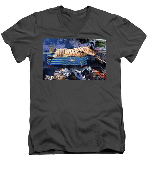 Men's V-Neck T-Shirt featuring the photograph Black Pig Spit Roasted In Taiwan by Yali Shi