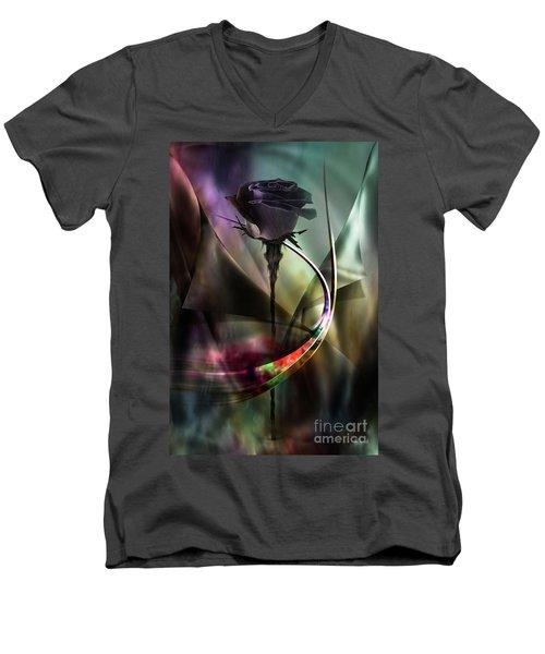 Black Rose In Color Symphony Men's V-Neck T-Shirt