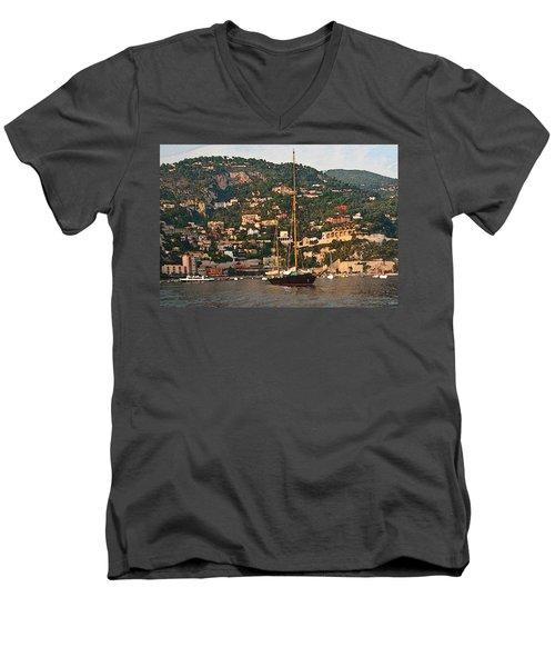 Black Sailboat At Villefranche II Men's V-Neck T-Shirt