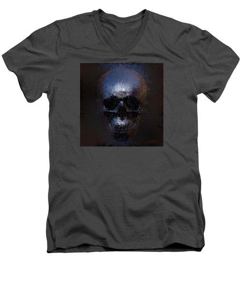 Black Skull Men's V-Neck T-Shirt by Vitaliy Gladkiy