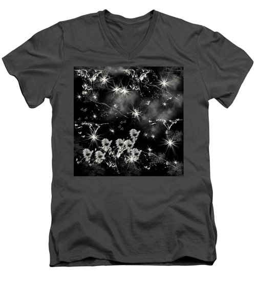 Men's V-Neck T-Shirt featuring the drawing Black Square By Jenny Rainbow by Jenny Rainbow