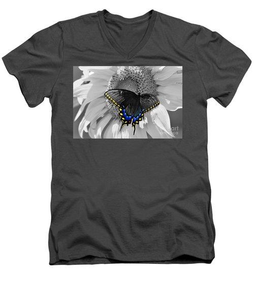 Black Swallowtail And Sunflower Color Splash Men's V-Neck T-Shirt