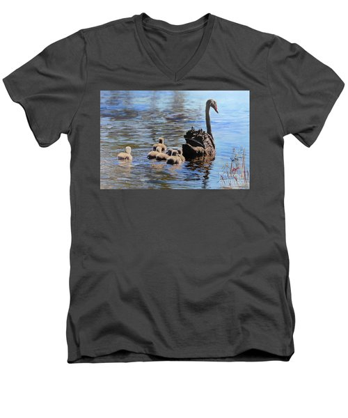 Men's V-Neck T-Shirt featuring the painting Black Swan And Cygnets No 2 by Ryn Shell