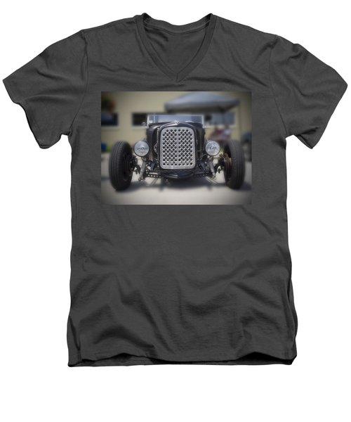 Black T-bucket Men's V-Neck T-Shirt