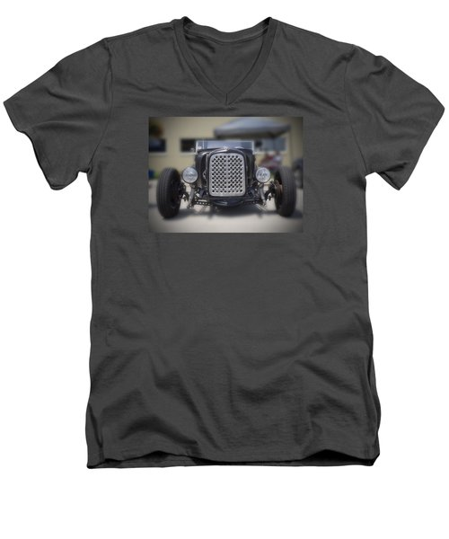 Black T-bucket Men's V-Neck T-Shirt