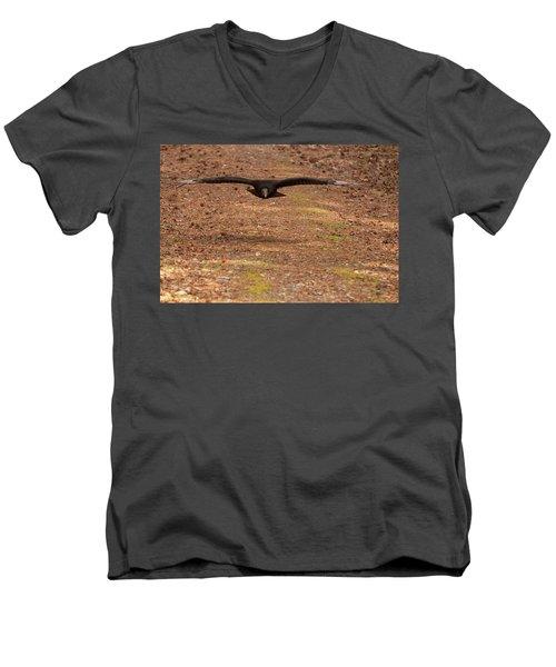 Black Vulture In Flight Men's V-Neck T-Shirt by Chris Flees