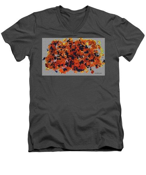 Black Walnut Ink Abstract With Splats Men's V-Neck T-Shirt by Tom Janca