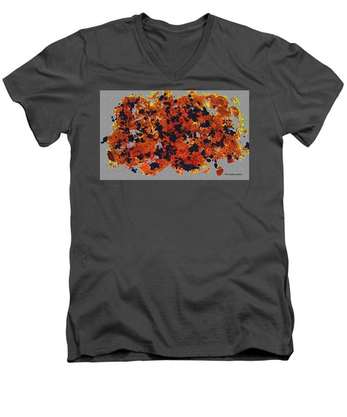 Black Walnut Ink Abstract With Splats Men's V-Neck T-Shirt