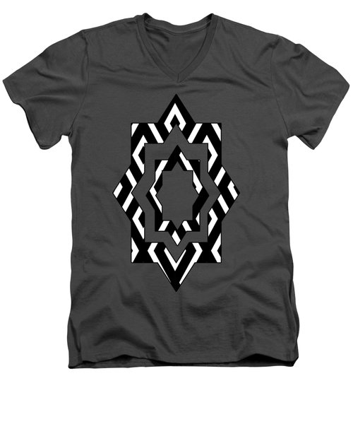 Black And White Pattern Men's V-Neck T-Shirt by Christina Rollo