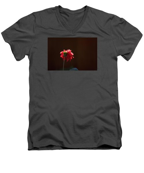 Men's V-Neck T-Shirt featuring the photograph Black With Rose by Lora Lee Chapman