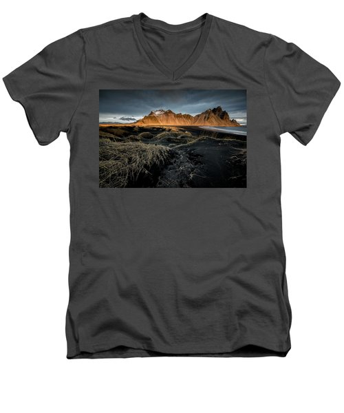 Blackbeach And Vestrahorn Men's V-Neck T-Shirt by Allen Biedrzycki