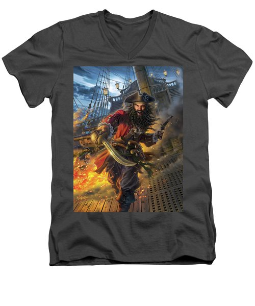 Blackbeard Men's V-Neck T-Shirt