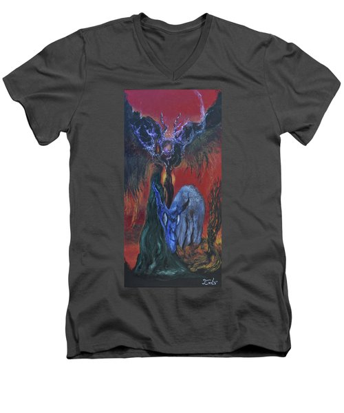 Men's V-Neck T-Shirt featuring the painting Blackberry Thorn Psychosis by Christophe Ennis