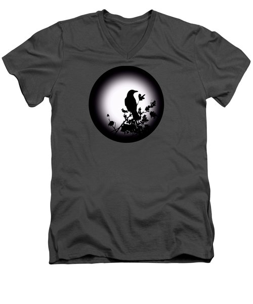 Men's V-Neck T-Shirt featuring the photograph Blackbird In Silhouette  by David Dehner