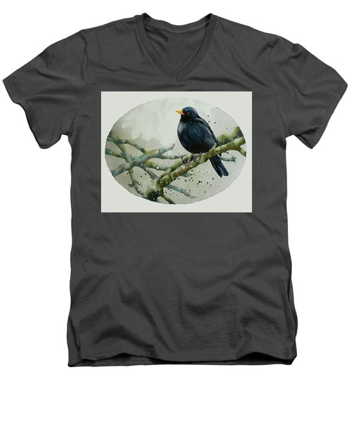 Blackbird Painting Men's V-Neck T-Shirt by Alison Fennell