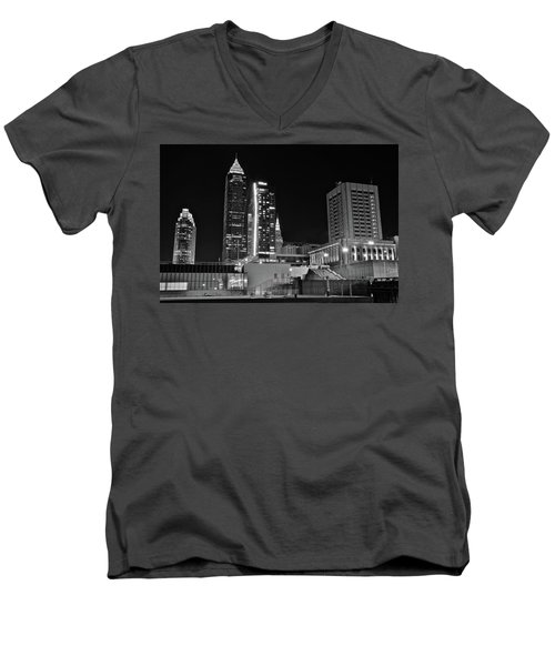 Men's V-Neck T-Shirt featuring the photograph Blackest Night In Cle by Frozen in Time Fine Art Photography