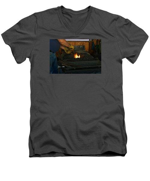 Blacksmith At Work Men's V-Neck T-Shirt by Steven Clipperton