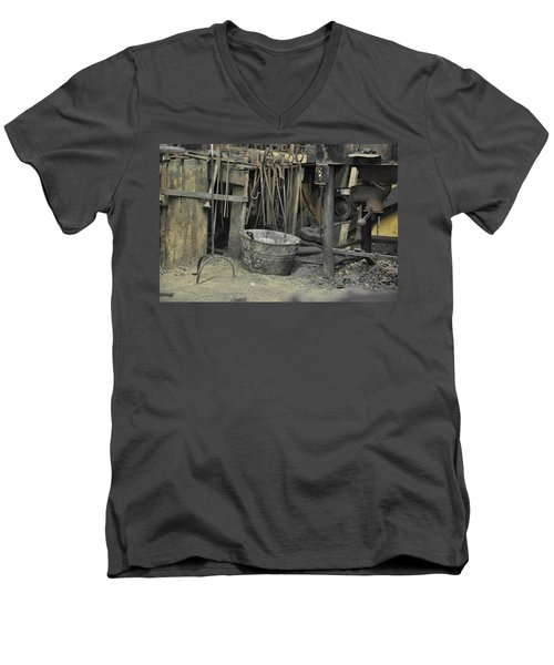 Men's V-Neck T-Shirt featuring the photograph Blacksmith's Bucket by Jan Amiss Photography