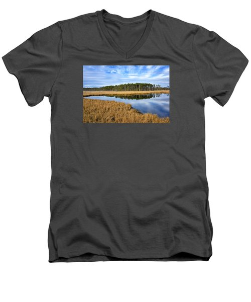 Men's V-Neck T-Shirt featuring the photograph Blackwater National Wildlife Refuge In Maryland by Brendan Reals