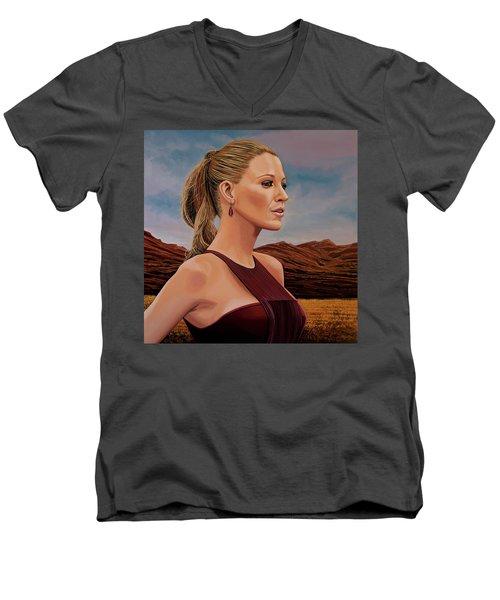 Blake Lively Painting Men's V-Neck T-Shirt by Paul Meijering