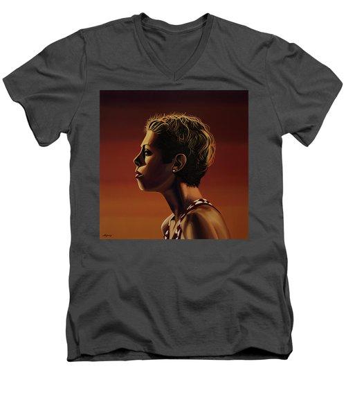 Blanka Vlasic Painting Men's V-Neck T-Shirt by Paul Meijering