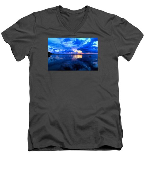 Men's V-Neck T-Shirt featuring the photograph Blazing Blue Sunset by Anthony Baatz