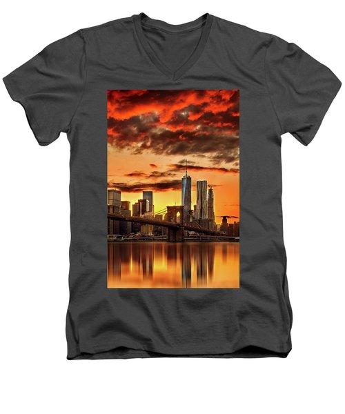 Blazing Manhattan Skyline Men's V-Neck T-Shirt by Az Jackson
