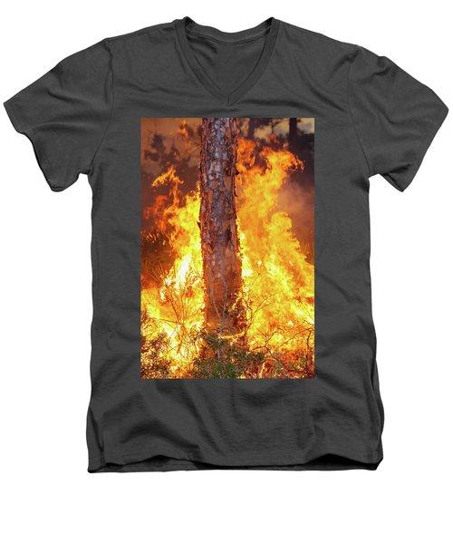 Men's V-Neck T-Shirt featuring the photograph Blazing Pine by Arthur Dodd