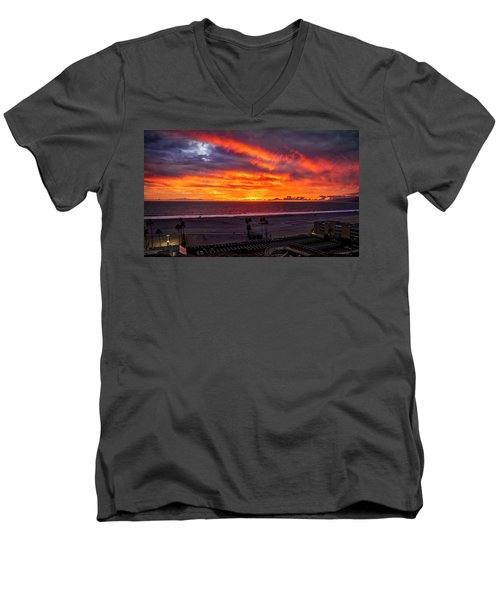 Blazing Sunset Over Malibu Men's V-Neck T-Shirt