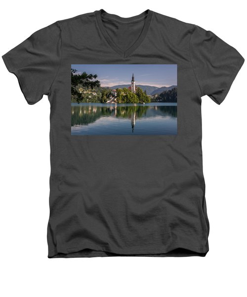 Men's V-Neck T-Shirt featuring the photograph Bled by Davorin Mance